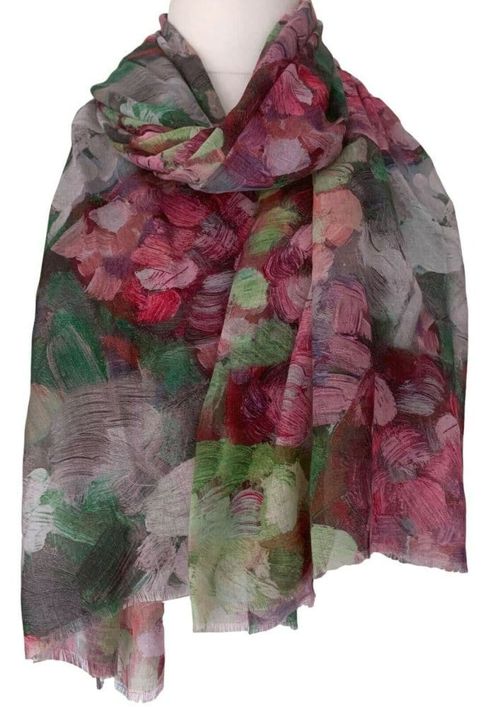 Floral Scarf Pink Green Abstract Flowers Large Cerise Flower Shawl Ladies Wrap